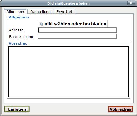 Screenshot Dialogfenster Bild einfügen/bearbeiten